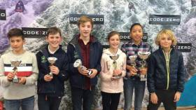 Irish Sailors and their impressive haul from the Hague Optimist Cup 2017 in Scheveningen in the Netherlands. Sailors from left to right Sam Ledoux, Johnny Flynn, Nathan van Steeberge, Leah Rickard, Clementine van Steenberge, and Rocco Wright