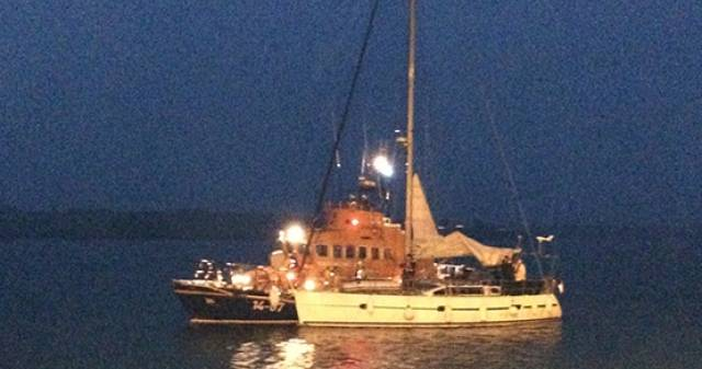 The French yacht is picked up by the Courtmacsherry lifeboat