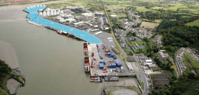Superimposed area of infilled Foynes Jetty Extension project, one of two contracts awarded by SPFC to Abco Marine