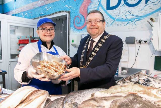 Fingal Mayor Anthony Lavin at Dorans on the Pier to launch this year's Dublin Bay Prawn Festival from 17-19 May