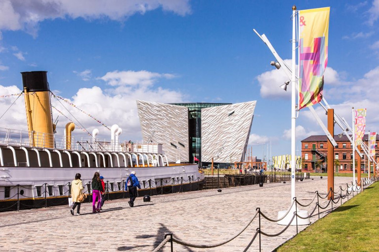 S.S. Nomadic, the purpose built White Star liner tender which AFLOAT adds served out of Cherbourg, France,  is preserved as a static museum attraction that forms part of Titanic Belfast centre