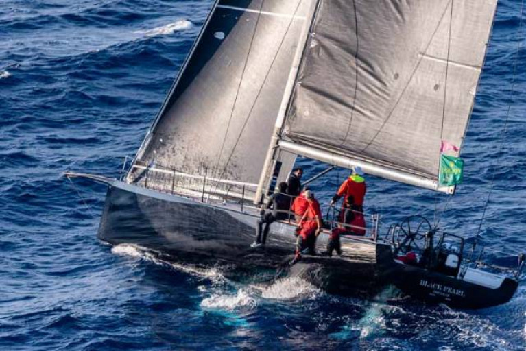 Stefan Jentzsch's Carkeek 47 Black Pearl on her way to a class win in the 2019 Middle Sea Race with Dublin sailor James Carroll onboard