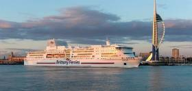 Brittany Ferries flagship Pont-Aven seen with new funnel fitted with green 'scrubber' technology