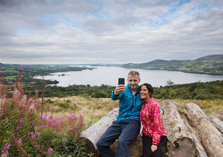 Walkers take a selfie over Lough Derg