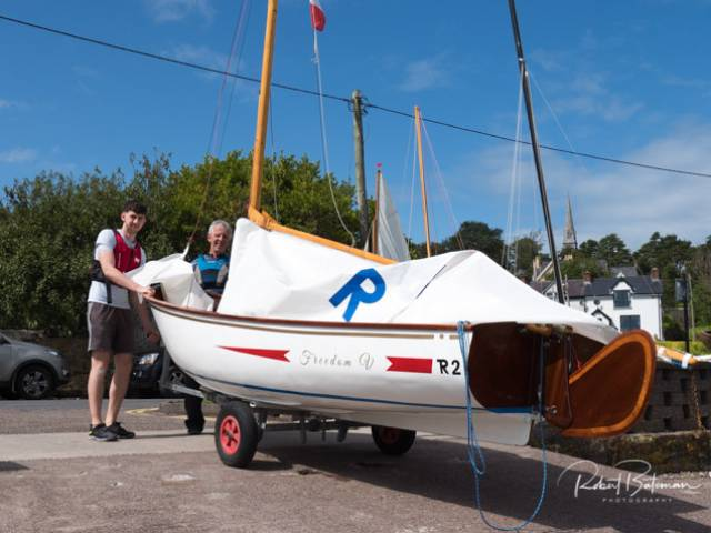 A Rankin dinghy is made ready to launch for the Cobh Peoples Regatta. Scroll down for more photos below