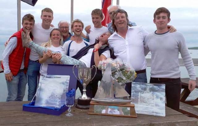 Waterford's Fools Gold crew celebrate another Welsh victory at Abersoch Keelboat Race Week