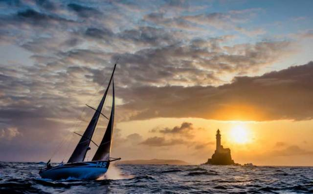 It may be Ireland's Fastnet Rock at dawn, but it's yet another successful French boat greeting the new day as veteran French sailor Catherine Pourre in her French-designed and French-built Class 40 Earendi races on to place third overall in Class40 in the Rolex Fastnet Race 2019