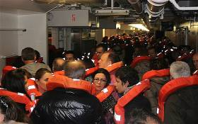 Passengers mustering aboard Costa Concordia during emergency