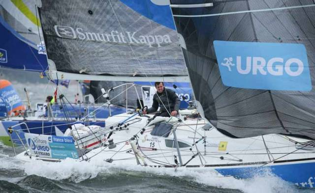 Tom Dolan – down but not out. Dolan broke a spreader on his mast as he had just passed the radio France buoy marking the end of the little show of the first stage of the 49th Solitaire urgo - le figaro