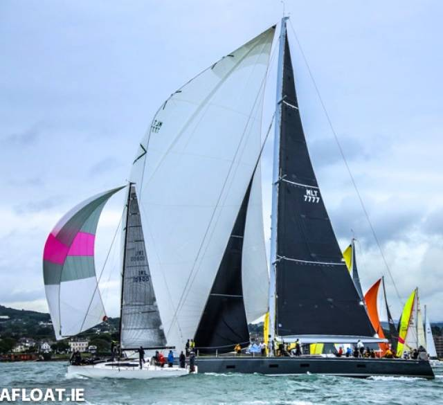 An unlikely pairing…..Paul O'Higgins' JPK 1080 Rockabill VI and Mick Cotter's Southern Wind 94 Windfall get cleanly and swiftly away together from the start of the 270-mile Volvo Dun Laoghaire to Dingle Race 2019 on Wednesday evening. Windfall took line honours while defending champion Rockabill VI was the IRC Overall Winner for the second time. It was a credit to the IRC system that the maxi Windfall was 8th overall on handicap in a varied fleet of 41 boats