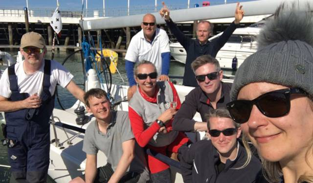 The J109 Jukebok crew with Royal Cork's Mark Mansfield (white T shirt, back row)