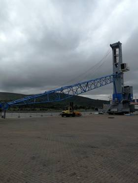 The new £3m crane after unloading at Warrenpoint Port last month. Work on assembling is to take several weeks before commissioning into service which is scheduled in September.
