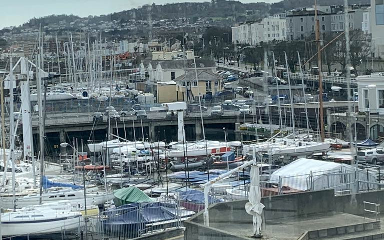 A view east overlooking the Royal St. George Yacht Club forecourt at Dun Laoghaire Harbourwhere members will be able to access boats again from Monday, May 18th