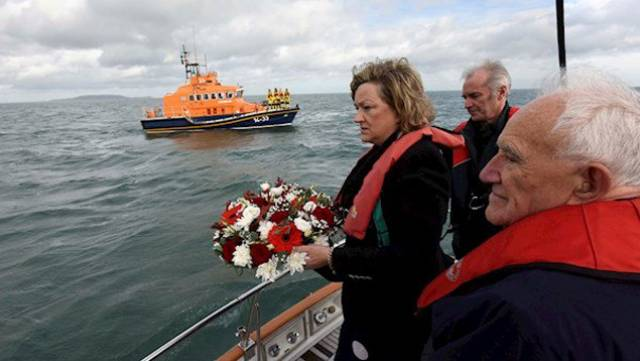 April English, widow of the renowned professional yachtsman Joe English, who sailed on board Moonduster in the tragic 1979 Fastnet Race, at a wreath-laying ceremony near Howth commemorating the 40th anniversary of the tragedy