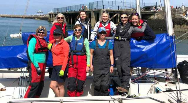 Up to 30 female sailors now sail weekly from the National Yacht Club. From L to R starting back row Derval Tubridy, Elaine Murphy, Rosemary O Connell, Charlotte O Kelly Front row Sarah Byrne, Helen Cooney, Susan Spain, Fiona Staunton and Cecile Van Steenberg.