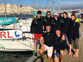 UCD Sailing Team L-R- Conor Foley, Luke Murphy, Jack Higgins, Nicole Hemeryck, Lucy McCutcheon, Patrick Cahill, Conor Kneafsey at the Student Yachting World Cup