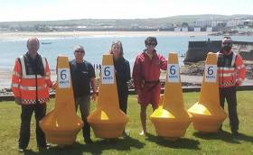 Pictured with the marker buoys in Kilkee, Co. Clare (L-R) James Lucey (Irish Coastguard), Robert Tweedy (Kilkee Sub Aqua Club), Clare McGrath (Clare County Council), Seamus Downes (Kilkee-based Lifeguard), Martony Vaughan (Irish Coastguard)