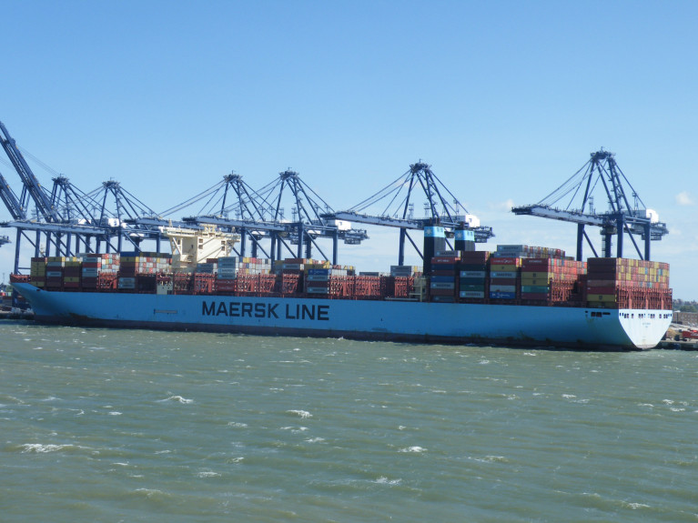 World's largest shipping line, Maersk reinstates and upgrades its full-year guidance for 2020 despite expectations of further year-on-year volume losses. Above AFLOAT's photo of Mette Maersk leadship of the G-series, berthed at Port of Felixstowe, the UK's biggest 'box'boat terminal.