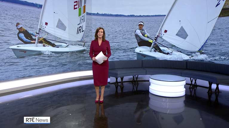 Aoife Hopkins and Annalise Murphy make the RTE evening news bulletin as they return to training in Dun Laoghaire Harbour