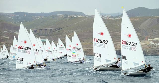 Ballyholme's James Espey (right) makes a start at the Laser European Championships