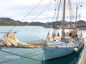 The Ilen in Paamuit in Greenland, where she found perfect shelter while a southerly gale blew itself out in the Labrador Sea