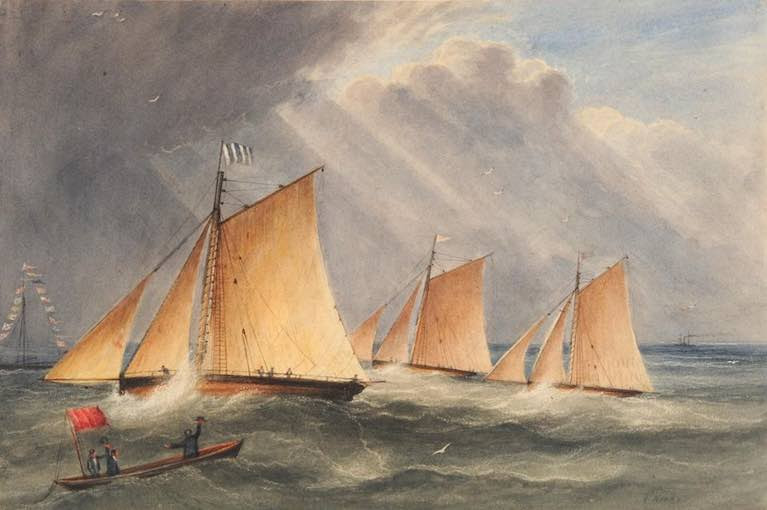 "A brisk breeze for the finish of the ""Belfast Regatta"" of 1829 – the full title reads: ""Race Won 19 June 1829, at the Belfast Regatta', by the 'Ariel, John McCracken Esq., against the 'Crusader, Sir Stephen May, and the 'Zoe', Marquis (sic) of Donegall"". From a painting by Andrew Nicholl, Ulster Museum"
