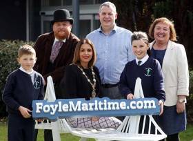 Mayor of Derry City and Strabane District Council, Cllr Elisha McCallion pictured with Paul Kilpatrick, organisation manager with Dupont, Margaret Edwards, Education Officer with Derry City and Strabane District Council, and Alex Bradley and Bradan Edwards, from Good Shepherd PS, along with Robert Forshaw from Footsteps Historical Interpretation dressed as famous 19th century Derry shipbuilder Captain William Coppin, at the launch of the DuPont Float your Boat competition that will be taking place in the run up to the forthcoming Foyle Maritime Festival in July when the Clipper Round the World Race fleet will arrive in Derry for a homecoming celebration of events.