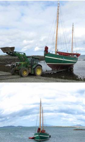 (Top) The restored Aigh Vie was moved gently down the beach at low water…….and then (above) floated out of the trailer by the rising tide
