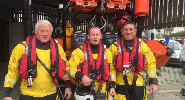 Chris Collins, Aodh O'Donnell and Martin Limrick of the Union Hall lifeboat crew