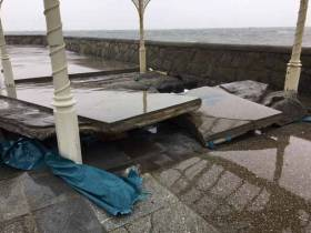 The broken surface at the bandstand area of the East Pier following Storm Emma. Dun Laoghaire-Rathdown County Council will recommend the dissolution of Dun Laoghaire Harbour Company and the transfer of its assets to the local authority at a meeting this week.