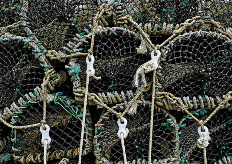 A stack of creels used for lobster and crab potting
