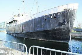 The former CIE operated Aran Islands passenger/freight ferry Naomh Eanna languishes in Dublin (Grand Canal Dock Basin). A campaign is underway to return the veteran vessel to her original homeport of Galway.