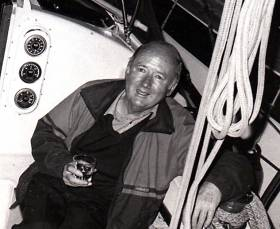 The late Joe Fitzgerald in party mode in Youghal while Commodore of the Irish Cruising Club in 1986