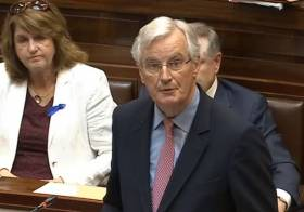 Michel Barnier addressing Dail Eireann, Ireland's parliament at the Houses of the Oireachtas