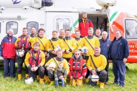 Lough Ree RNLI's volunteer crew with the Sligo-based Irish Coast Guard helicopter