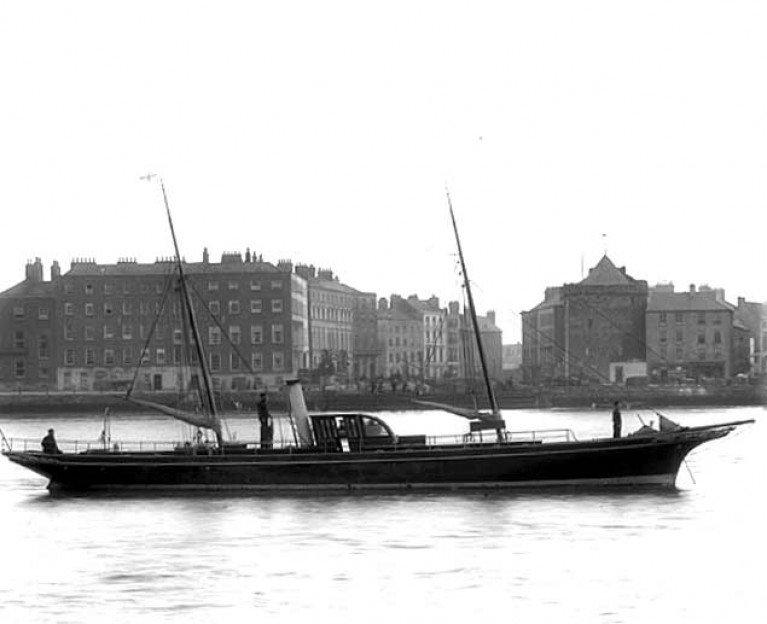 The 77ft Maritana – designed and built in Waterford - makes her debut in the river off the city at Reginald's Tower in the summer of 1882. Two years later, she was awarded the Concours d'Elegance at Cowes