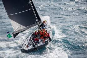 The nightfall leader: after a well-called race, Eric de Turkheim's new NMYD 54 Teasing Machine III is well finished in Valetta, and currently heading the Rolex Middle Sea Race leaderboard. Kurt Arrigo