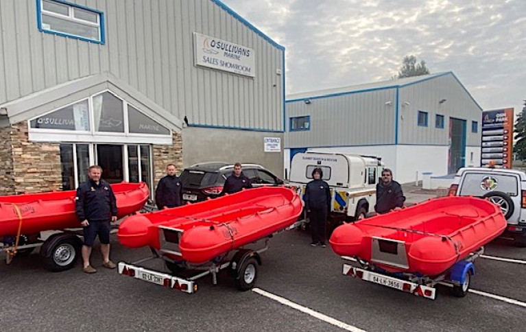 The Enniscorthy SAR Team with their new fleet of Whalys at O'Sullivans Marine in Tralee