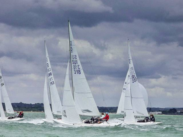 Martin Byrne (IRL 201) competing on day two of the Edinburgh Cup in Cowes