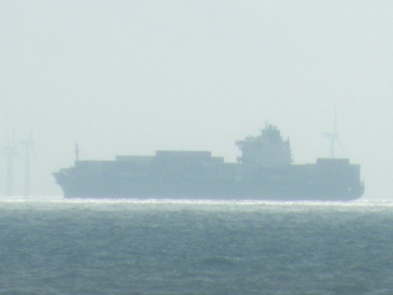 A containership in UK waters