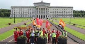 Harland & Wollf workers protest in front of Parliament Buildings, Stormont during the visit of UK Prime Minister Boris Johnson.