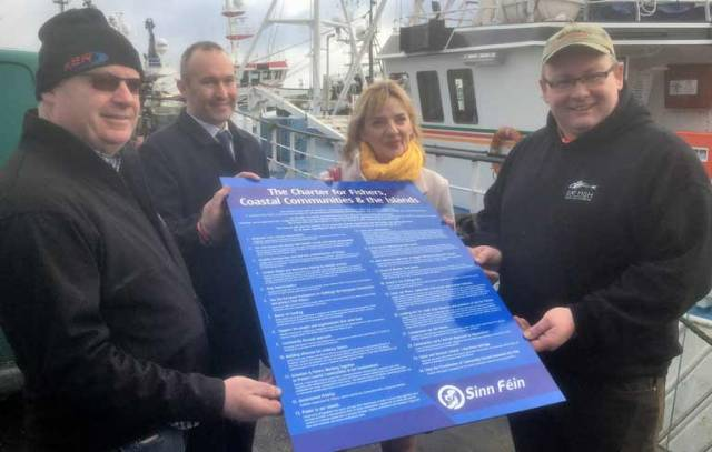 Liadh Ní Riada MEP and Councillor Paul Hayes meeting with fishermen in Castletownbere for the launch of The Charter for Fishers, Coastal Communities and the Island
