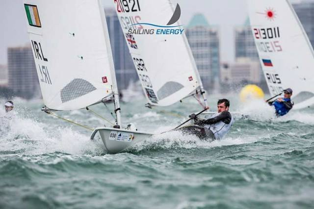 Finn Lynch at speed downwind in the Laser Class in Miami
