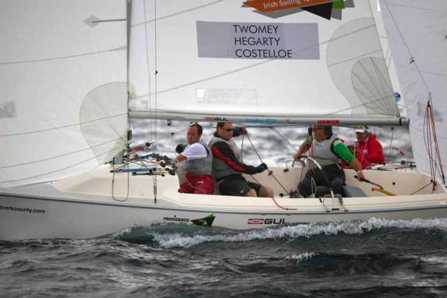 John Twomey and his crew competing in the Sonar Paralympic class in Kinsale