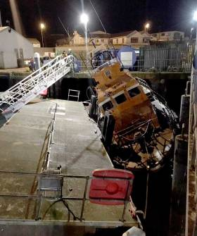 Dunmore East's Trent class lifeboat sustained damage after another boat is thought to have collided the pontoon it was moored alongside