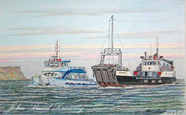 FERRIES IN ART: In this colour sketch by John Baird are the Rathlin Island ferries Rathlin Express and Canna (soon to be replaced) by a new Arklow built car ferry to serve the six mile crossing on the Sea of Moyle.