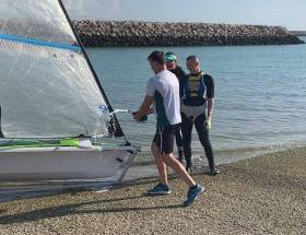 Annalise with Yanic Gentry (left) and fellow Irish sailor Adam Hyland (right)
