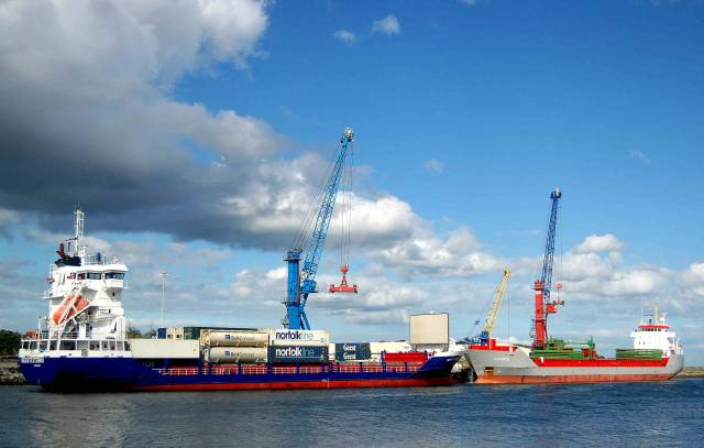 Geest Externo and Amanda berthed downriver on the Boyne at Drogheda Port's largest facility, Tom Roes Point Terminal