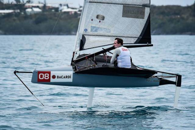 David Kenefick finished 11th in a windy then light Moth Worlds in Bermuda