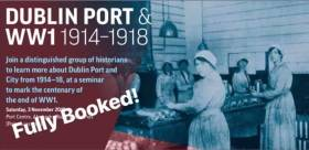 To mark the centenary of the end of WW1, Dublin Port is host to a talk tomorrow at the port's headquarters, however due to high demand the ticketed event is fully booked out!... however DPC highlight that further related events are planned, so check out their facebook page for updates.